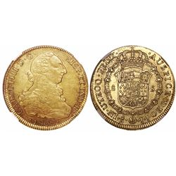 Santiago, Chile, bust 8 escudos, Charles IV (bust of Charles III), 1802JJ, encapsulated NGC AU 53 wi