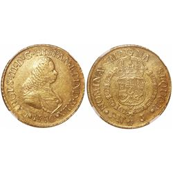 Popayan, Colombia, bust 8 escudos, Charles III (bust of Ferdinand VI), 1770J, encapsulated NGC XF 45