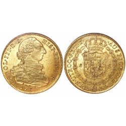 Bogota, Colombia, bust 8 escudos, Charles III, 1783JJ, encapsulated NGC MS 62.