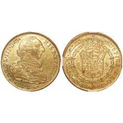 Bogota, Colombia, bust 8 escudos, Charles III, 1785JJ, encapsulated NGC AU 53.