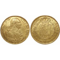 Bogota, Colombia, bust 8 escudos, Charles IV, 1792JJ, no dot between assayers.