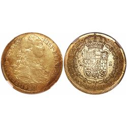 Popayan, Colombia, bust 8 escudos, Ferdinand VII (bust of Charles IV), 1820FM, mintmark P, • before