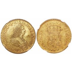 Popayan, Colombia, bust 4 escudos, Ferdinand VI, 1759J, mintmark P•N, encapsulated NGC XF 45.