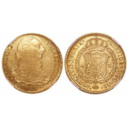 Popayan, Colombia, bust 4 escudos, Charles III, 1783SF, encapsulated NGC AU 50, finest known in NGC