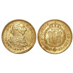 Popayan, Colombia, bust 2 escudos, Charles III, 1772JS.