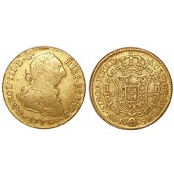 Popayan, Colombia, bust 2 escudos, Charles III, 1776SF.