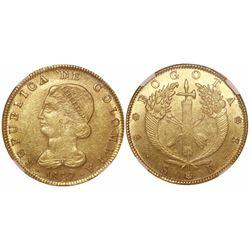 Bogota, Colombia, 8 escudos, 1829RS, encapsulated NGC AU 55.