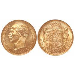 Denmark, 10 kroner, Frederik VIII, 1908-VBP, encapsulated NGC MS 65.