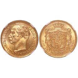 Denmark, 10 kroner, Frederik VIII, 1909-VBP, encapsulated NGC MS 65 with WINGS gold sticker.