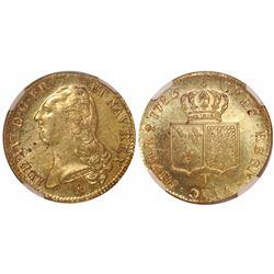 France (Nantes mint), double Louis d'or, Louis XVI, 1786-T, encapsulated NGC MS 62.