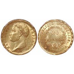France (Paris mint), 20 francs, 1808-A, encapsulated NGC MS 62.