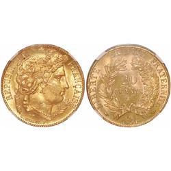 France (Paris mint), 20 francs, 1851-A, encapsulated NGC MS 64.