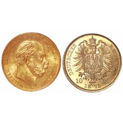 Prussia (German States), 10 mark, Wilhelm, 1873-A, encapsulated NGC MS 65 with WINGS gold sticker.