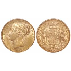 Great Britain (London, England), sovereign, Victoria (young head), 1870, die #119, WW in relief, fro