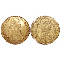 Guatemala, bust 8 escudos, Charles IV, 1794M, rare, encapsulated NGC XF 40, with WINGS gold sticker.