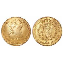 Guatemala, bust 2 escudos, Charles III, 1785M, rare.