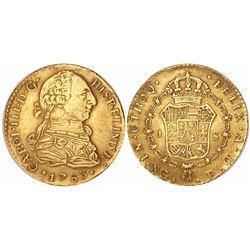 Guatemala, bust 1 escudo, Charles III, 1783P, rare.