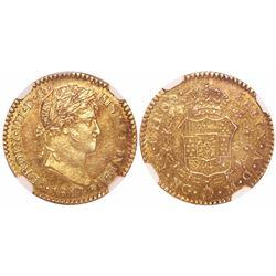 Guatemala, bust 1 escudo, Ferdinand VII, 1817M, encapsulated NGC AU 58.