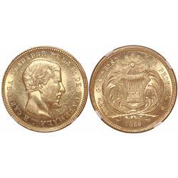 Guatemala, 10 pesos, 1869R, Carrera, encapsulated NGC MS 61.