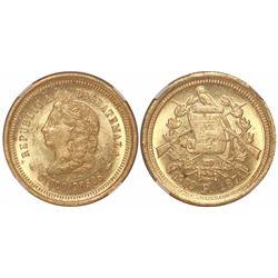 Guatemala, 5 pesos, 1874P, encapsulated NGC MS 64.