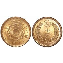 Japan, 10 yen, M41 (1908), encapsulated NGC MS 65.
