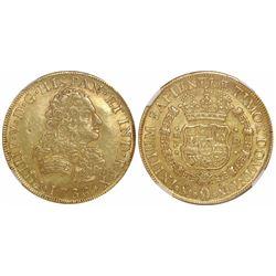 Mexico City, Mexico, bust 8 escudos, Philip V, 1736MF, encapsulated NGC AU 55.