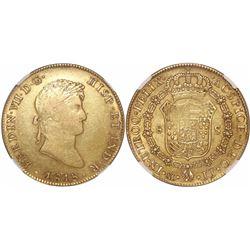 Mexico City, Mexico, bust 8 escudos, Ferdinand VII, 1818/7JJ, encapsulated NGC XF 45.