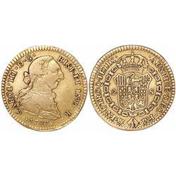 Mexico City, Mexico, bust 2 escudos, Charles III, 1787FM, initials facing inward.