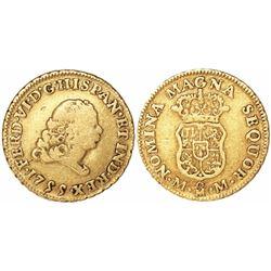 Mexico City, Mexico, bust 1 escudo, Ferdinand VI, 1755MM.