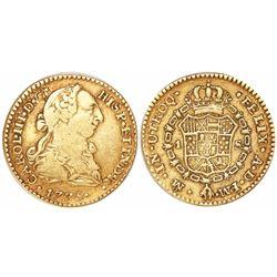 Mexico City, Mexico, bust 1 escudo, Charles III, 1775FM, initials facing inward.