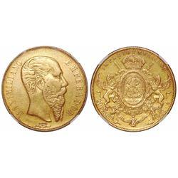 Mexico City, Mexico, 20 pesos, Maximilian, 1866, encapsulated NGC XF 45.