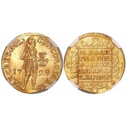 Holland, Netherlands, ducat, 1729, encapsulated NGC MS 64, from the Vliegenthart (1735).