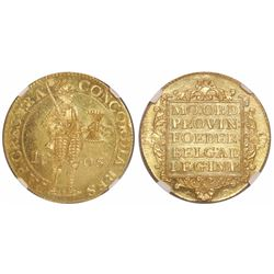 Netherlands (Batavian Republic), 2 ducat, 1805, encapsulated NGC MS 65, tied for finest known in NGC