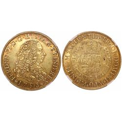 Lima, Peru, bust 8 escudos, Ferdinand VI, 1753J, encapsulated NGC AU 55.