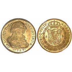 Lima, Peru, bust 8 escudos, Charles III, 1789IJ, encapsulated NGC AU 53.