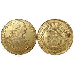 Lima, Peru, bust 8 escudos, Charles IV, 1806JP.