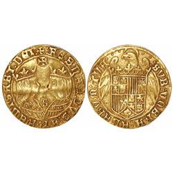 Seville, Spain, double excelente, Ferdinand-Isabel, mintmark S and three dots at bottom, Jerusalem c