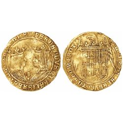 Seville, Spain, double excelente, Ferdinand-Isabel, mintmark S and four dots above star at bottom.