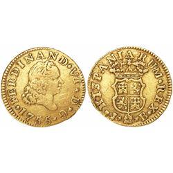 Madrid, Spain, bust 1/2 escudo, Ferdinand VI, 1755JV.
