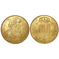Seville, Spain, bust 8 escudos, Charles III, 1773CF.