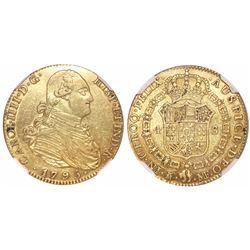 Madrid, Spain, bust 4 escudos, Charles IV, 1795MF, encapsulated NGC XF 45.