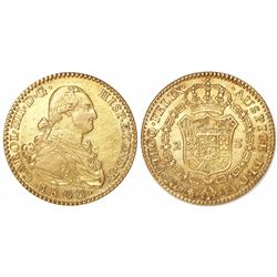 Madrid, Spain, bust 2 escudos, Charles IV, 1802/1FA.
