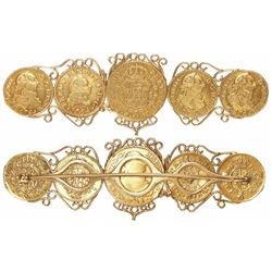 Stickpin brooch made of 5 Madrid, Spain, bust gold coins: 1E 1791; 1/2E 1754 and 1786 (3).