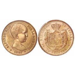 Spain, gold restrike 20 pesetas, Alfonso XIII 1887-PGV (19-62 inside stars), encapsulated PCGS MS66.