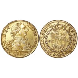 Gilt platinum contemporary counterfeit of a bust 8 escudos of Charles III, 1771, fantasy mintmark an