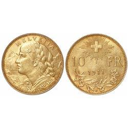 Switzerland, 10 francs, 1911-B, key date.
