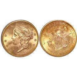 USA (San Francisco mint), $20 Coronet Liberty, 1857-S, encapsulated PCGS MS64 / S.S. Central America