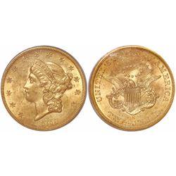 USA (San Francisco mint), $20 Coronet Liberty, 1857-S, encapsulated PCGS AU55 / S.S. Central America
