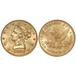 USA (Philadelphia mint), $10 Coronet Liberty, 1849, from the SS Republic (1865), encapsulated NGC MS