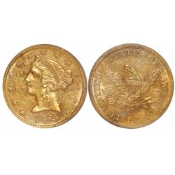 USA (Charlotte mint), $5 Coronet Liberty, 1855-C, from the SS Central America (1857), encapsulated P